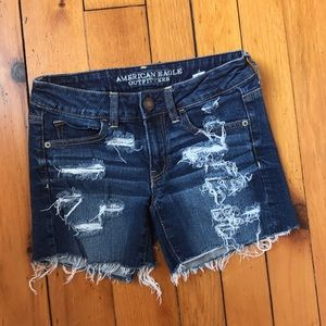 AEO Low Rise Stretch Distressed Shorts